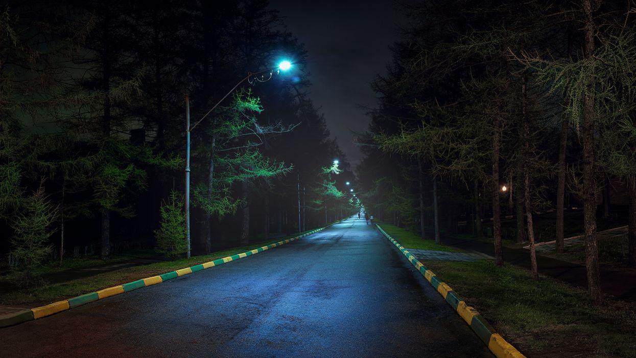 carretera noche rusia moscu farolas wallpaper