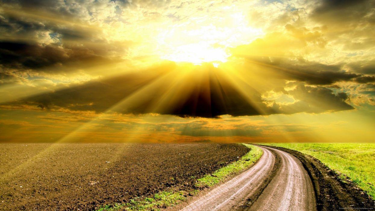 amanecer carretera sol nubes naturaleza wallpaper