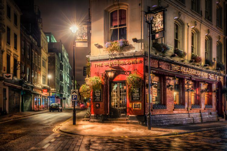 England Houses London Street Night Street wallpaper