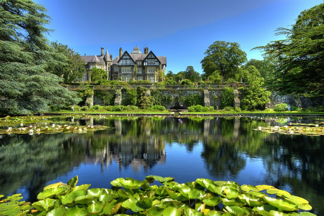 Gardens Water lilies Pond United Kingdom Bodnant Conwy Wales Nature wallpaper