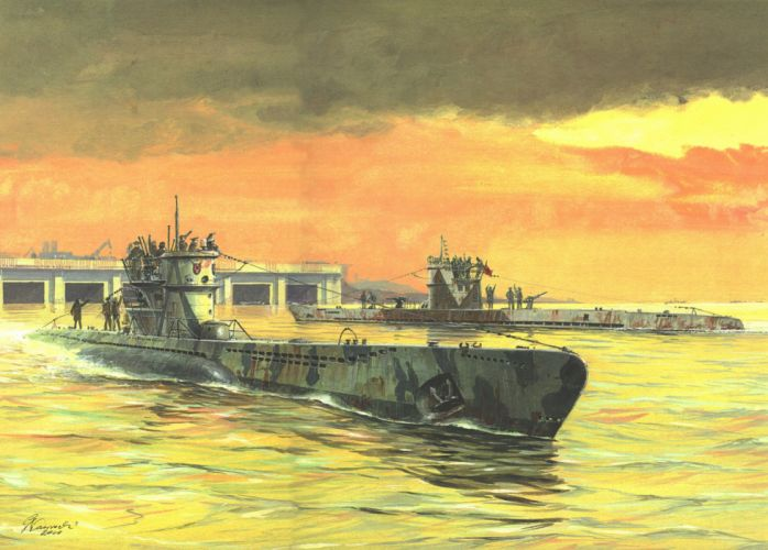 Submarines Painting Art U-Boot typ IXC & VIIC Army wallpaper