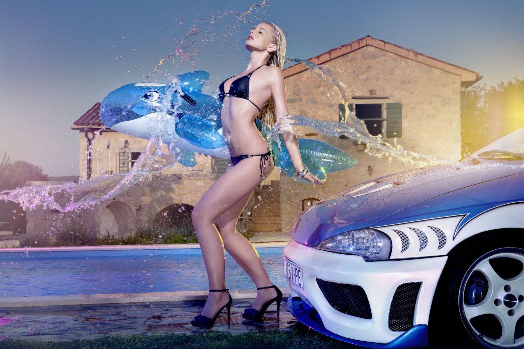Swimwear Stilettos Girls Cars wallpaper