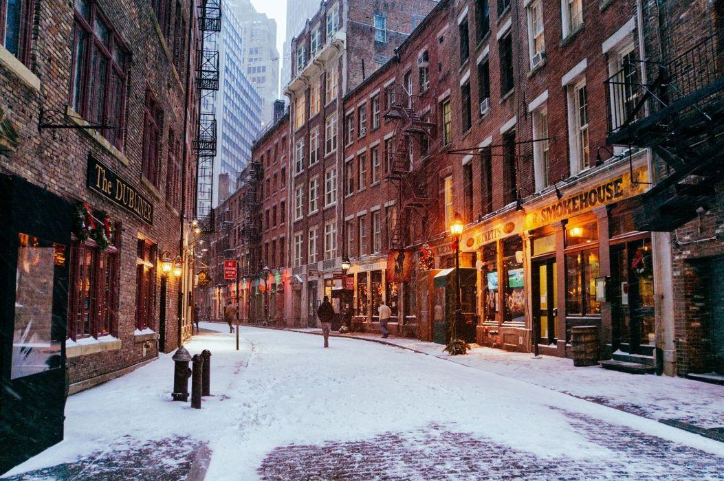 Winter Houses USA Manhatt Street Snow New York wallpaper