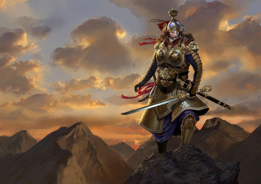Warriors Sky Armor Swords Clouds Samurai Fantasy wallpaper