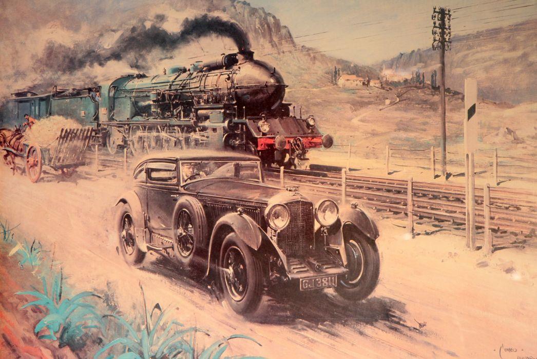 Bentley Painting Art Trains wallpaper