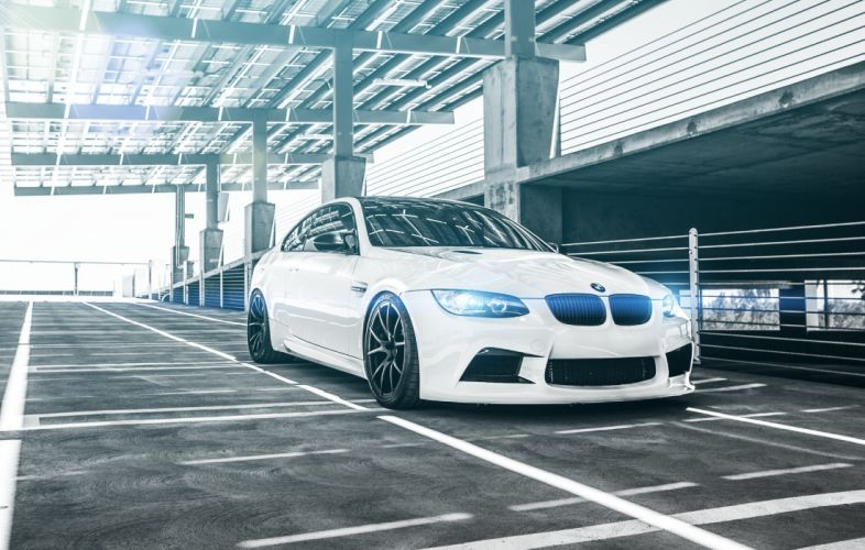 BMW M3 Coupe E92 White Parking Cars wallpaper