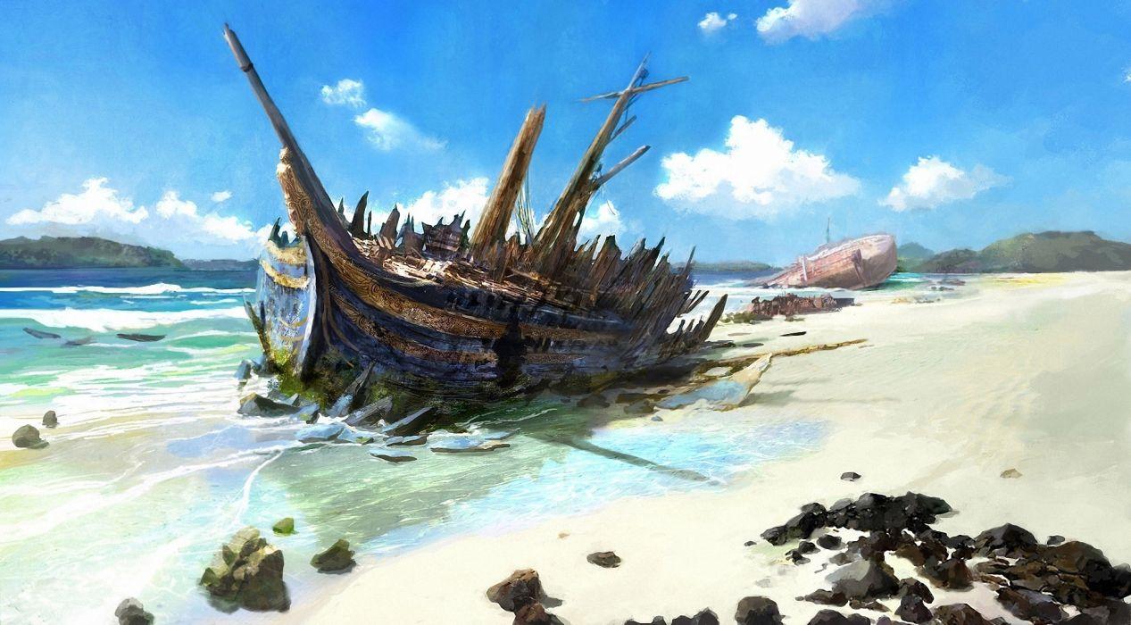 Disasters Ships Sailing Beach Clouds Nature wallpaper