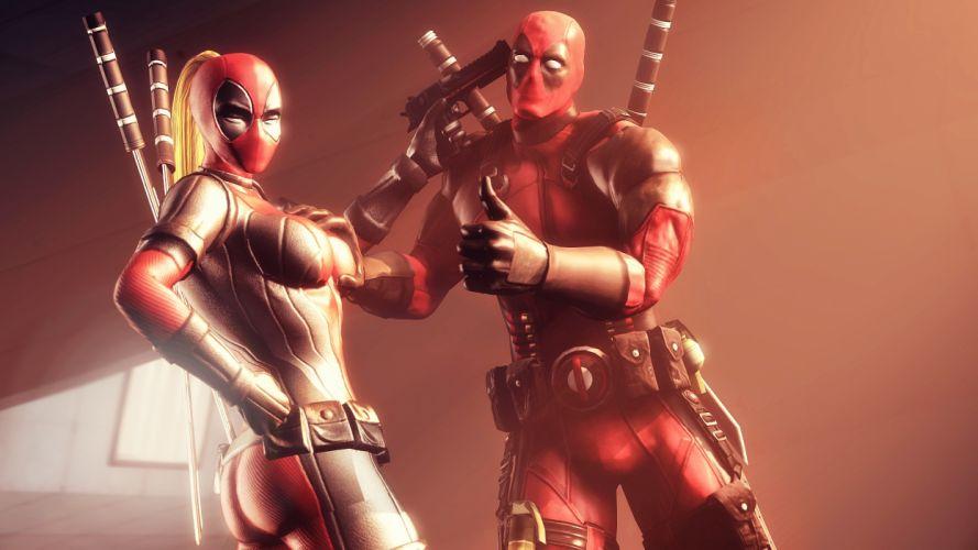 Heroes comics Deadpool hero Pistols Lady Deadpool Swords Fantasy 3D Graphics wallpaper