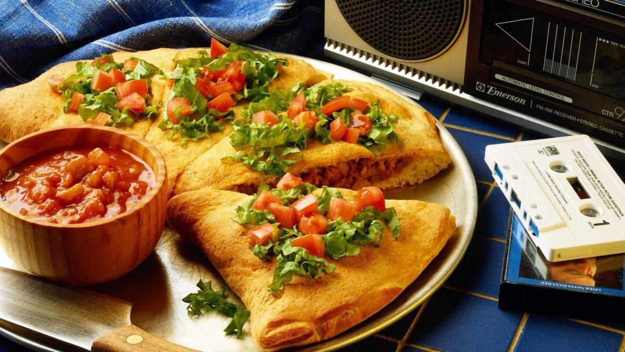 porciones pizza salsa radio cassettes wallpaper