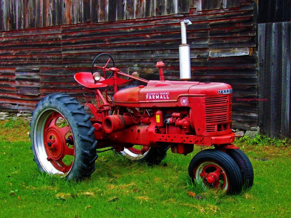 viejo tractor rojo hierba wallpaper