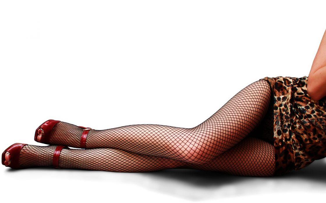 Closeup Pantyhose Stilettos Legs Girls wallpaper