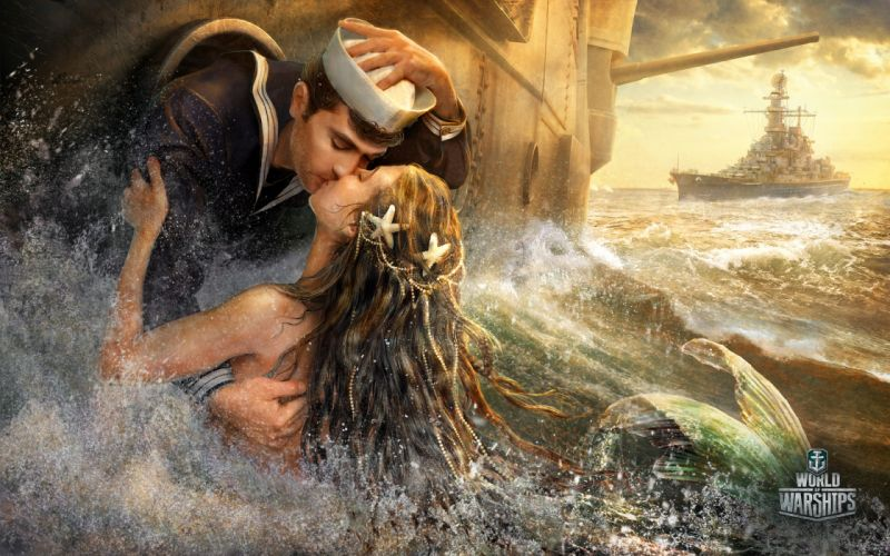 Mermaid World Of Warship Men Spray Games Fantasy Girls Army wallpaper