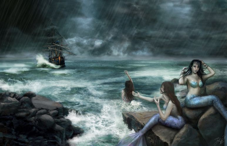 Mermaid Rain Sea Sailing Ships Three 3 Fantasy Girls wallpaper
