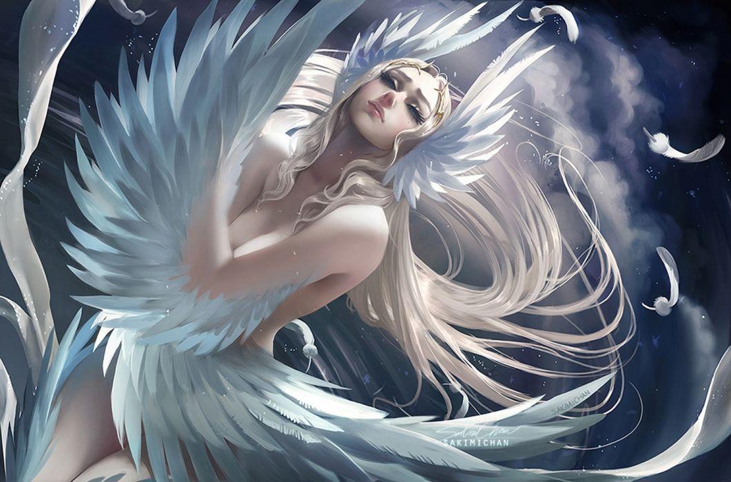 Beauty Mark Blonde Hair Feather Long Hair Swan Lake