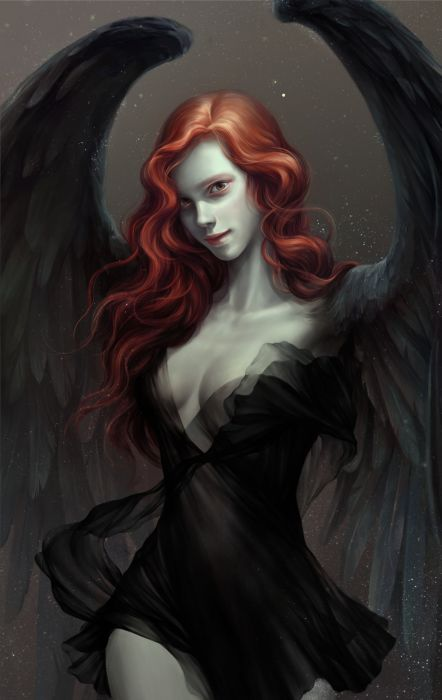 si-woo-kim-seiren5 Siwoo Kim artist original fantasy art beauty woman beautiful red hair black dress wings wallpaper