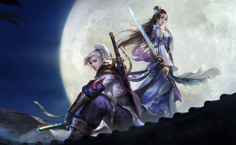 Su Fu artist original fantasy art beauty couple girl malee moon swords wallpaper