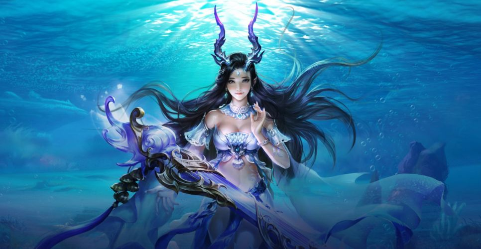 Su Fu artist original fantasy art beauty girl woman long hair sword wallpaper