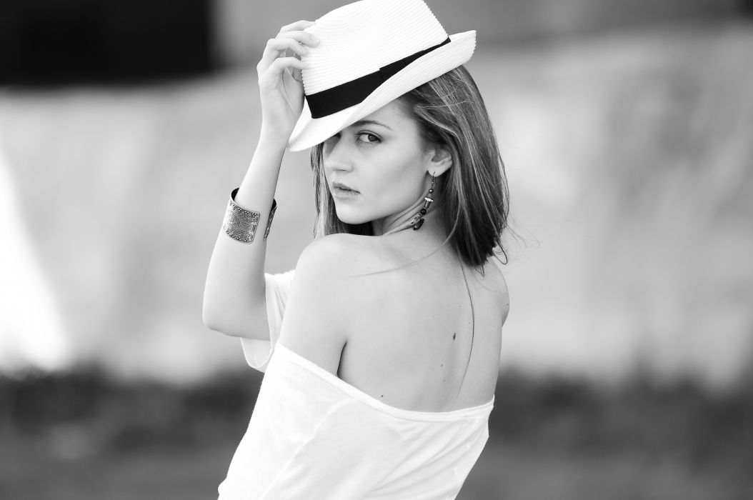 adult attractive beautiful beauty black-and-white bracelet casual cute earrings eyes face fashion fedora freedom girl hand hat head lips lonely wallpaper