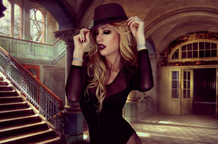 blonde fashion filter girl glamour hat lady model photoshoot portrait pretty style woman wallpaper