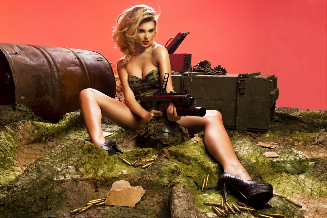 Grenade launcher Blonde girl Girls Army wallpaper