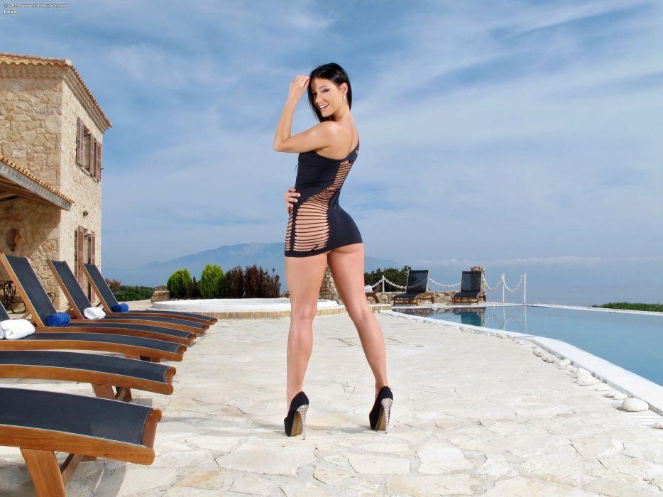 Melisa Mendiny Brunette girl Pools Legs Stilettos Dress Girls wallpaper