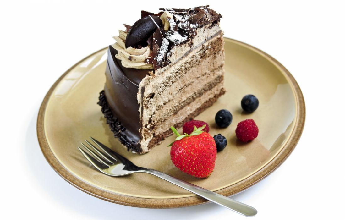 Sweets Cakes Chocolate Plate Fork White wallpaper