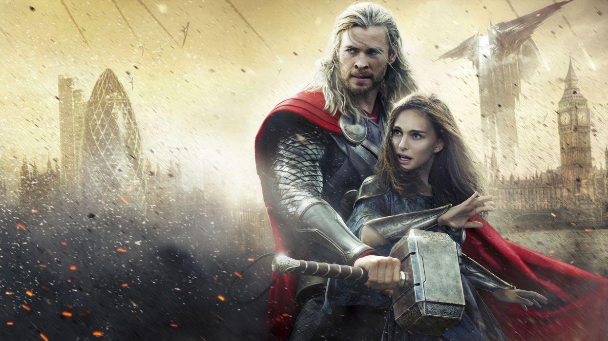 The Dark World Chris Hemsworth Natalie Portman Men Thor hero Warriors Armor War wallpaper