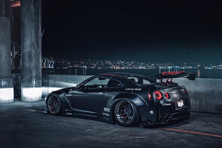 Nissan GT-R R35 Liberty Japan Sport Black Night Cars wallpaper