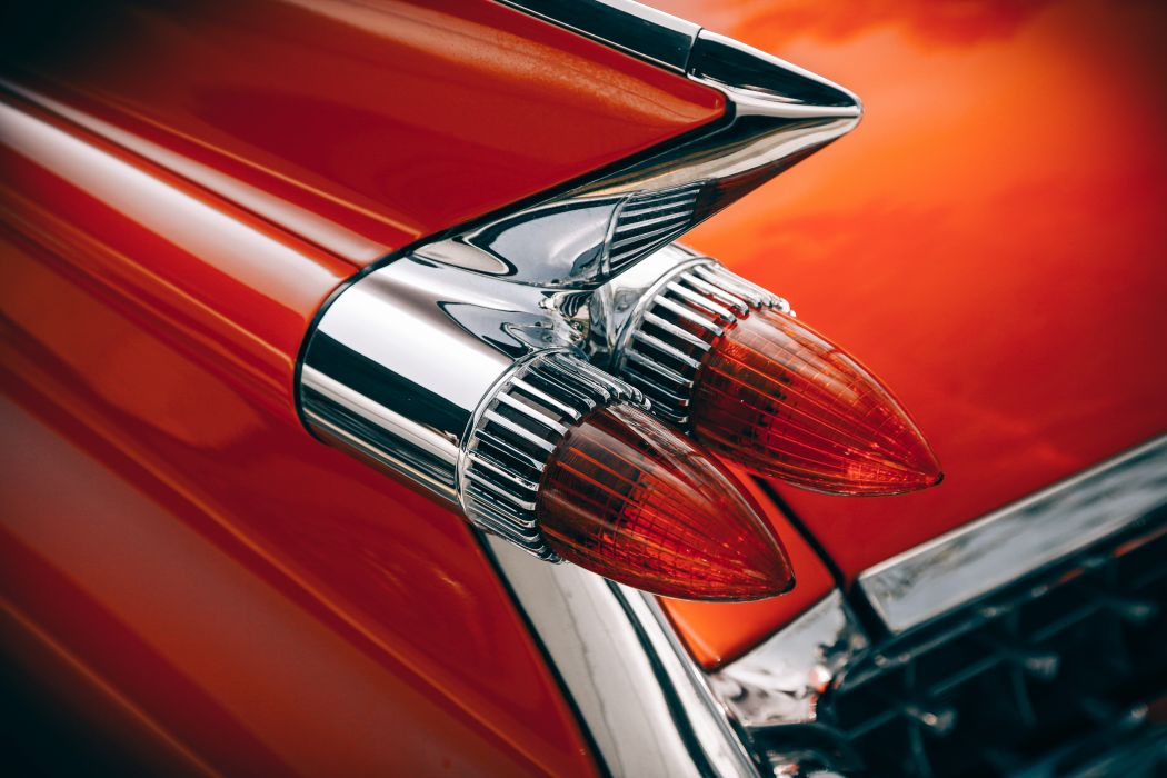 Silver and Red Vintage Tail Lights wallpaper