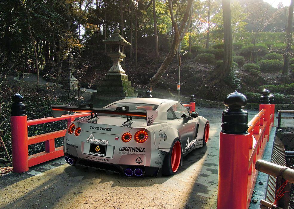 Tuning Nissan Japan Bridges GTR R35 Back wallpaper