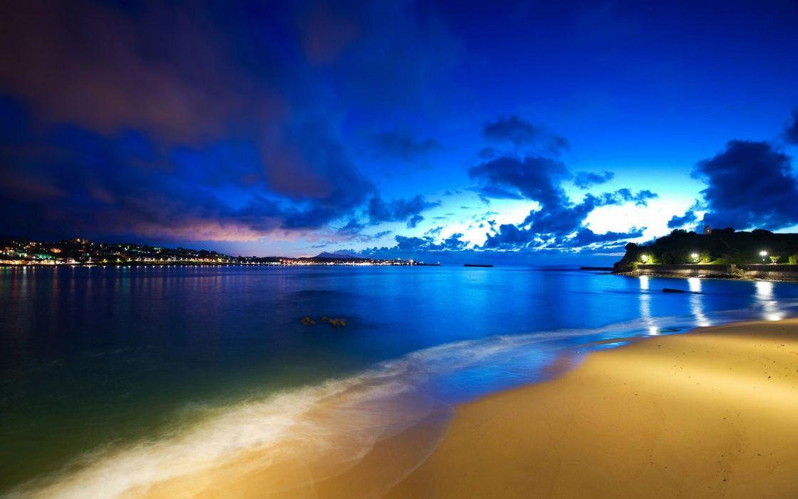oscurece playa mar naturaleza wallpaper