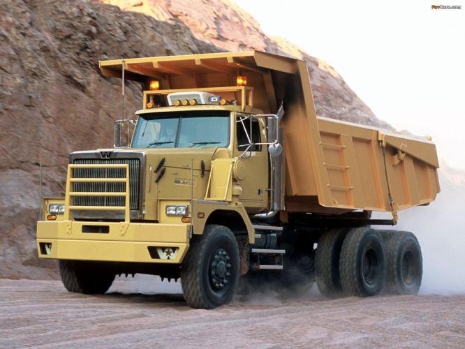 camion amarillo carga vehiculo wallpaper