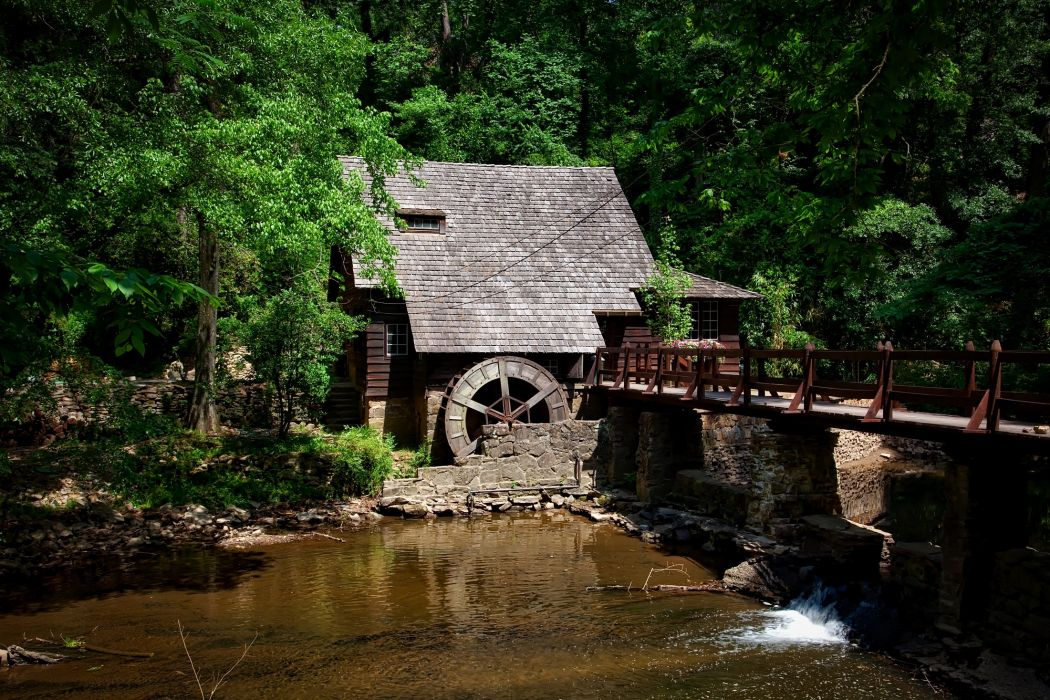 alabama bridge building country creek dam foliage forest historic landscape mill house outdoors picturesque river rural scenic stone stream structure summer travel trees water waterfall wood wooden woods wallpaper