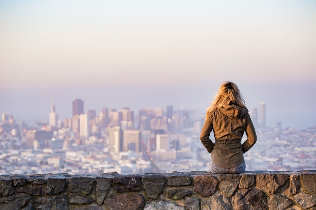 architecture bay blonde buildings city cityscape cold daylight financial district girl landscape misty outdoors san francisco skyline skyscrapers top travel view viewpoint water woman wallpaper
