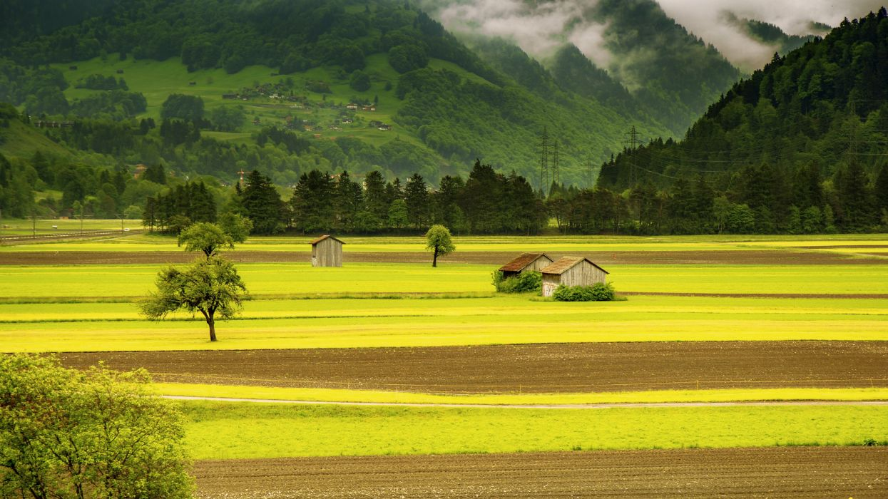 agriculture barn country countryside cropland daylight environment farm farmland field grass grassland house landscape mountains nature outdoors rural scenic trees woods wallpaper