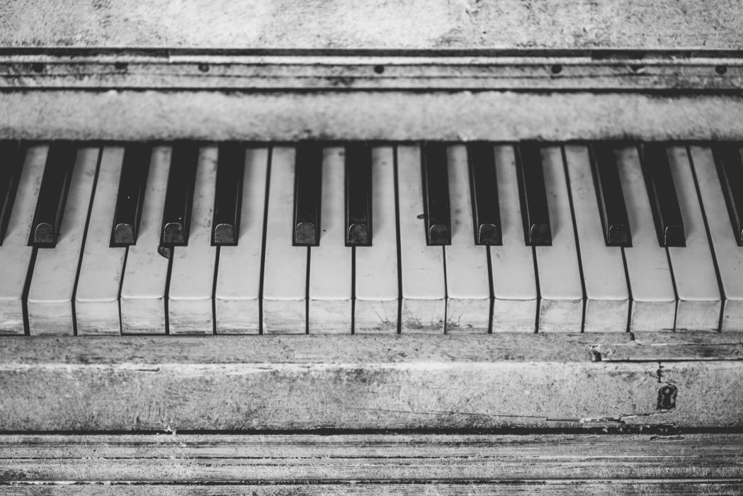 antique black-and-white close-up musical instrument piano piano keys vintage wallpaper