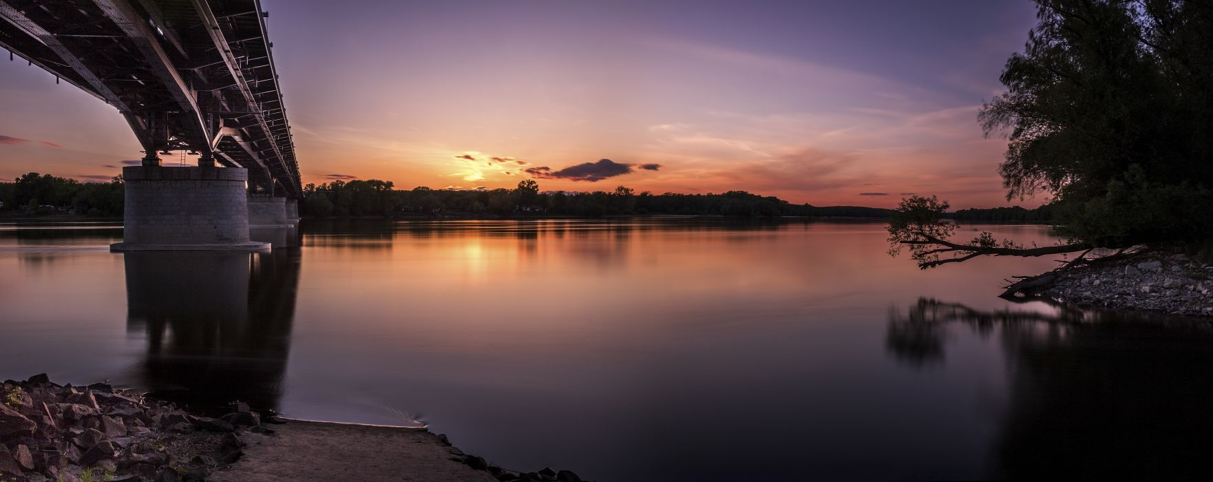 backlit bridge dawn dusk evening lake landscape light outdoors reflection river silhouette sun sunset travel tree water wallpaper