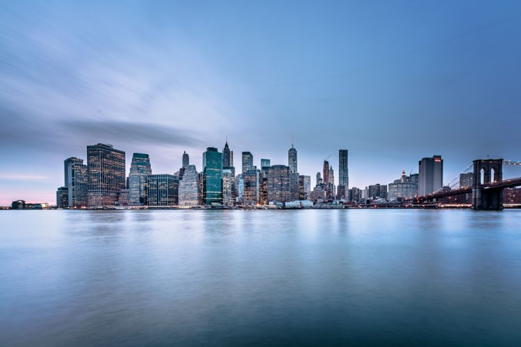 architecture bridge brooklyn bridge buildings business city cityscape contemporary dawn downtown dusk manhattan new york office one world trade center outdoors perspective road sky wallpaper