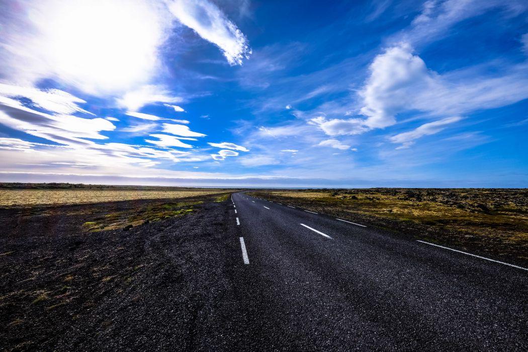 asphalt blue sky clouds cloudscape countryside curve daylight desert distance dry grass empty expressway field guidance highway horizon land landscape long nature wallpaper