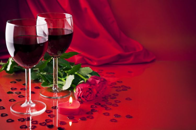 Roses Wine Stemware Red Flowers wallpaper