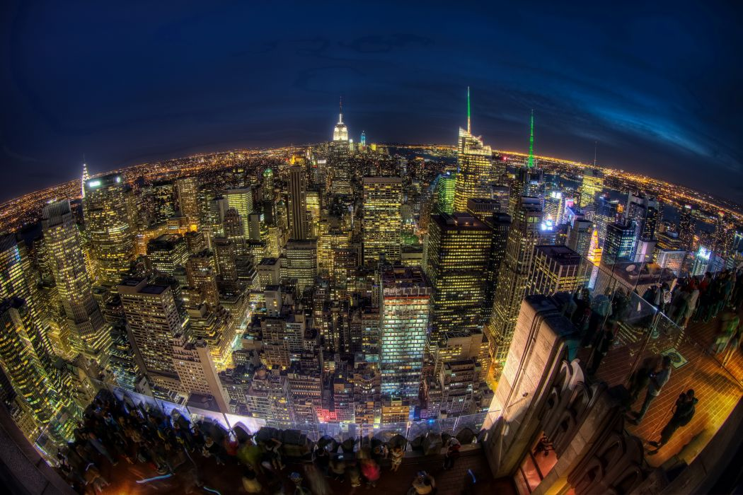 USA Skyscrapers Houses New York City Night From above HDR Horizon Megapolis Cities wallpaper