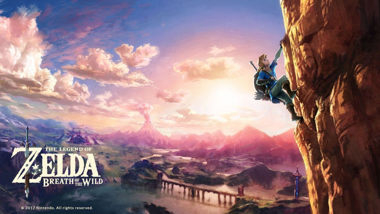 Legend Of Zelda Breath Of The Wild Climbing Cliff Wallpaper
