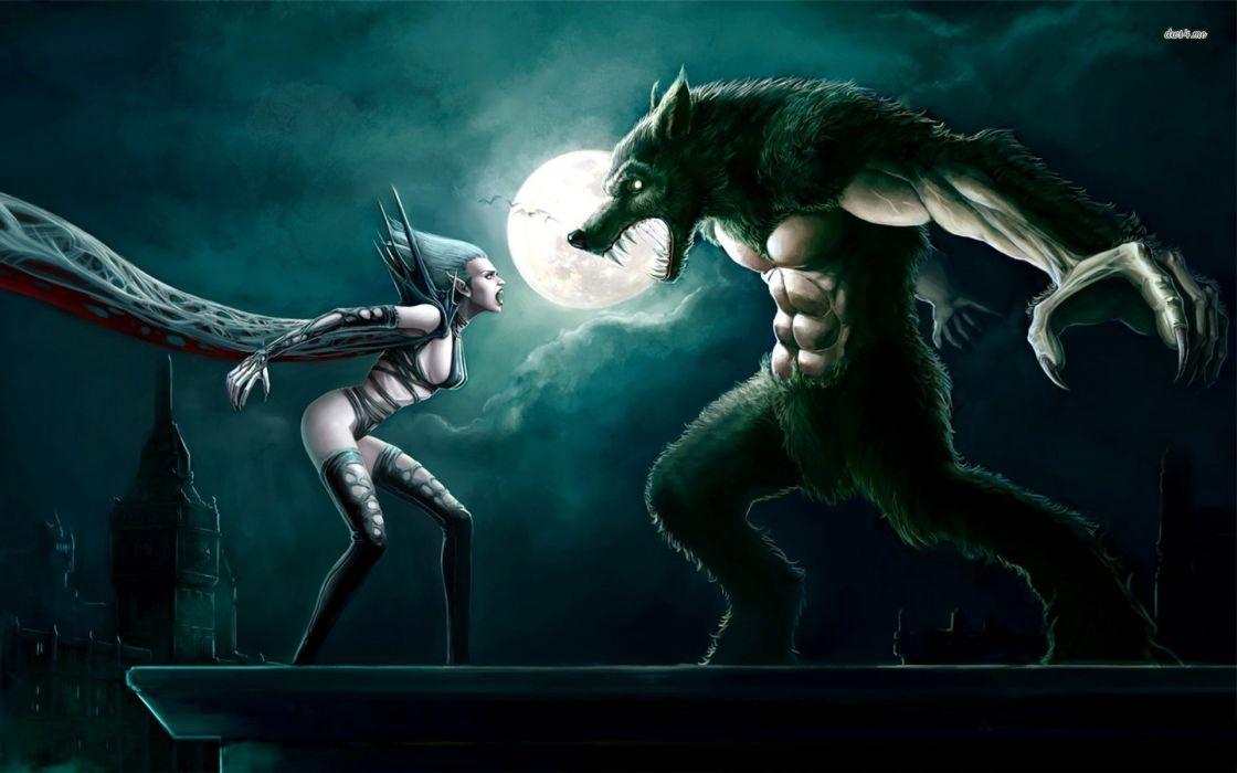 noche hallowenn vampira hombre lobo wallpaper