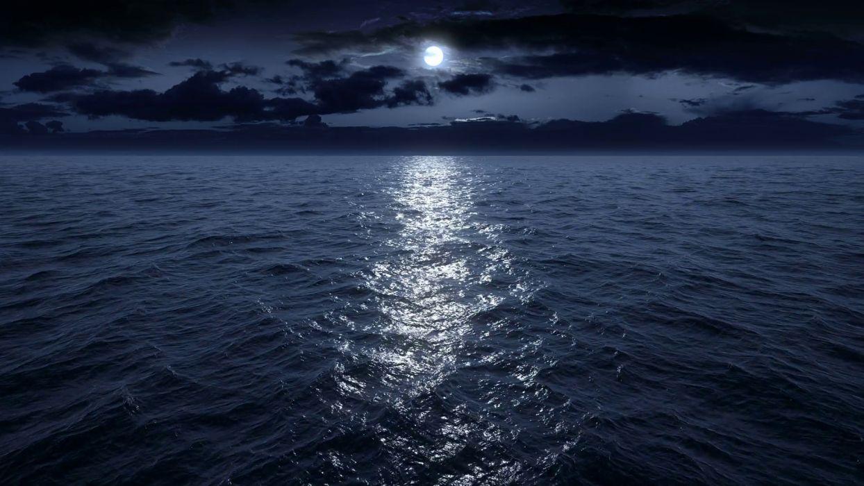 oceano noche luna nubes naturaleza wallpaper