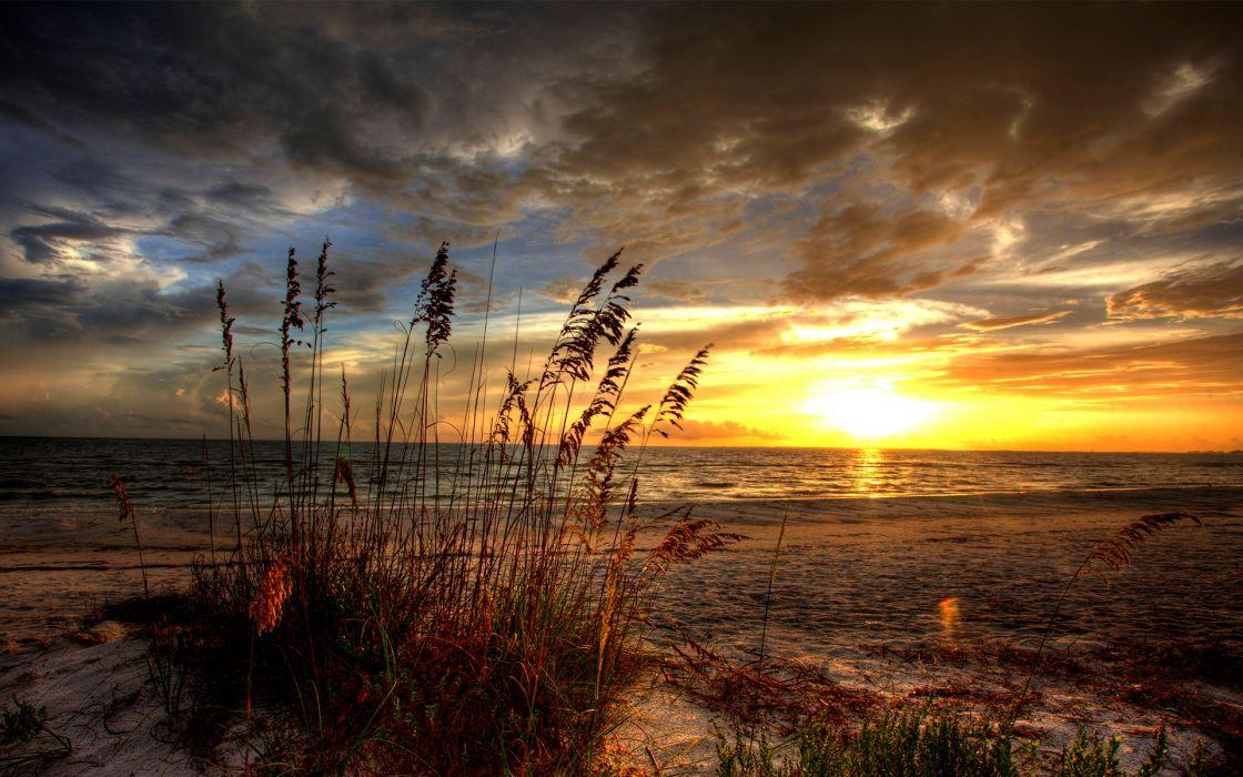 puesta sol playa nubes naturaleza wallpaper