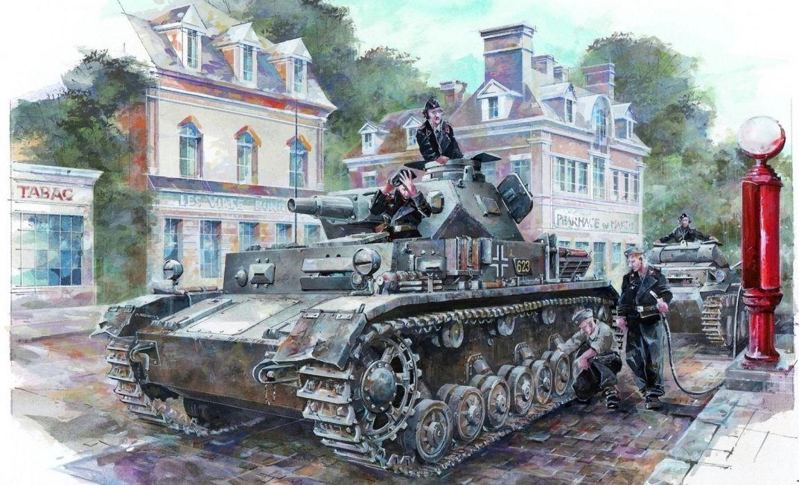 Painting Art Tanks Pz Kpfw IV Ausf C Army wallpaper