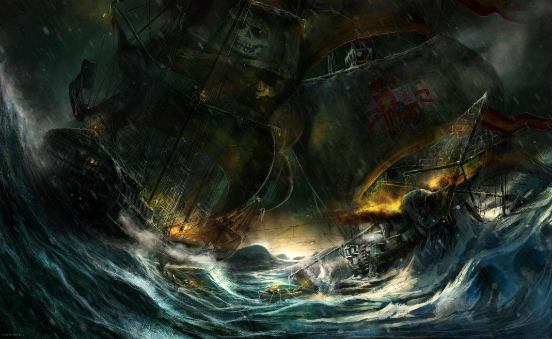 Pirates Ships Sailing Fantasy wallpaper