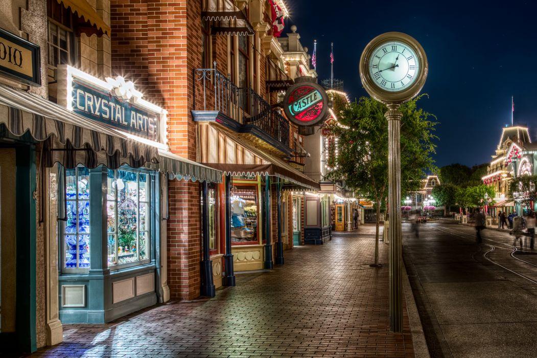 USA Houses Disneyland Street Night HDR Pavement Window California Anaheim Cities wallpaper