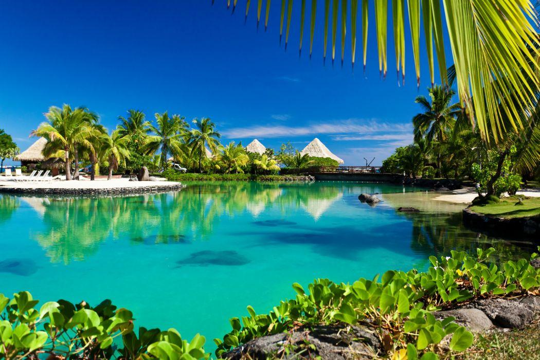 Tropics French Polynesia Rivers Bora Bora Bungalow Palms Nature wallpaper