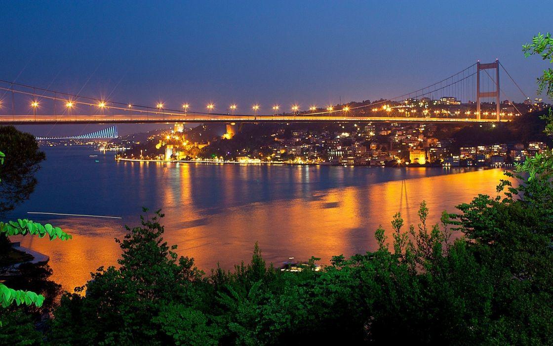 Bosphorus bridge fatih sultan mehmet istanbul turkey bridges beauty landscape sea light sky tree wallpaper